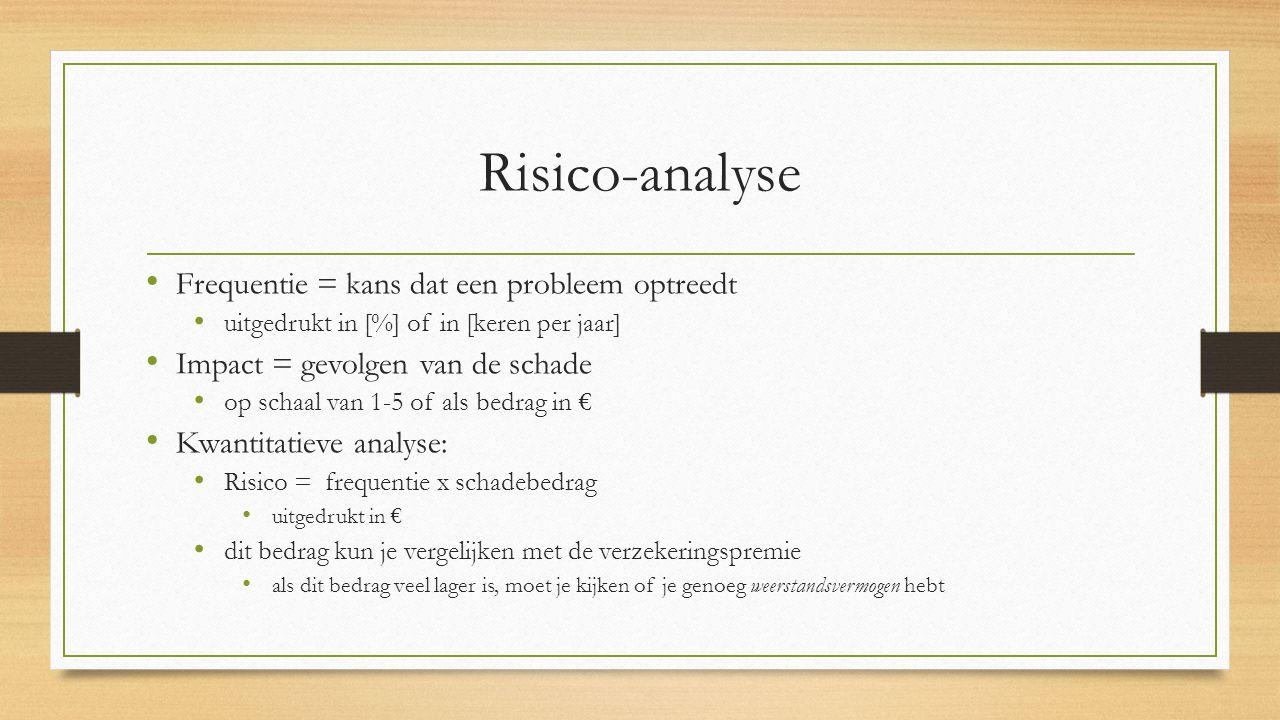 Risico-analyse Frequentie = kans dat een probleem optreedt