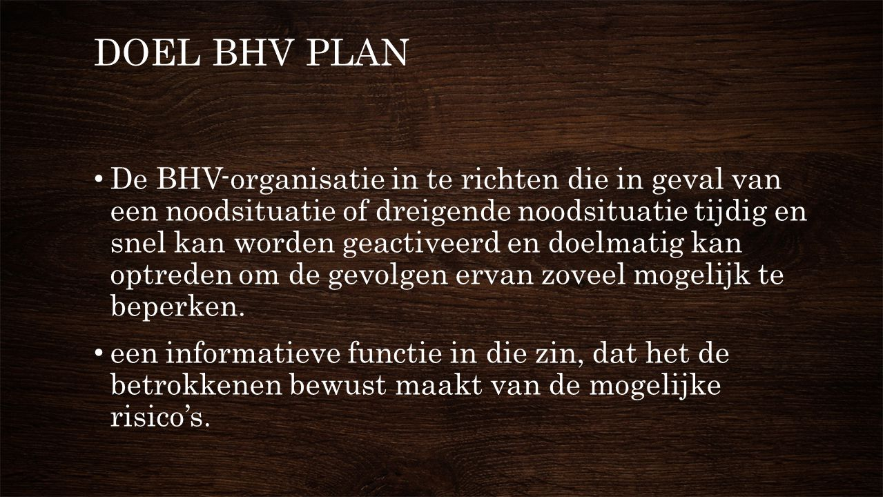 DOEL BHV PLAN