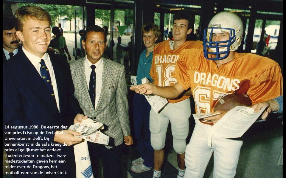 14 augustus 1988. De eerste dag van prins Friso op de Technische Universiteit in Delft.