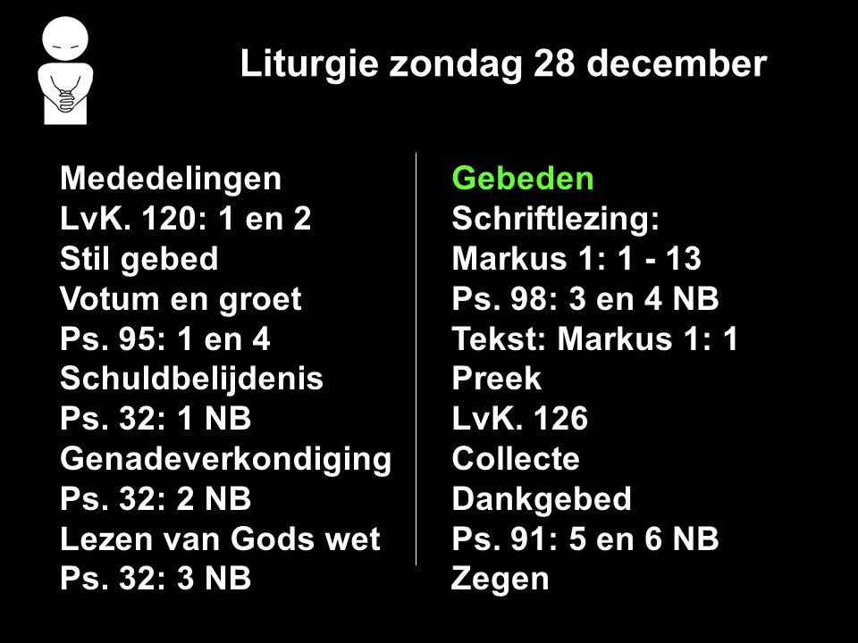 Liturgie zondag 28 december