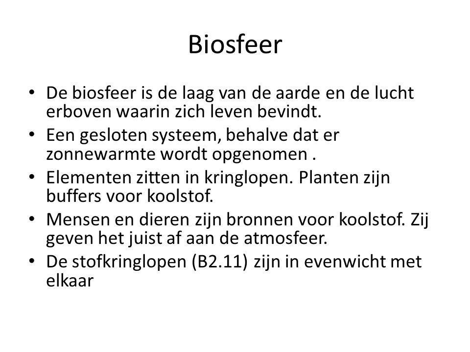Biosfeer De biosfeer is de laag van de aarde en de lucht erboven waarin zich leven bevindt.