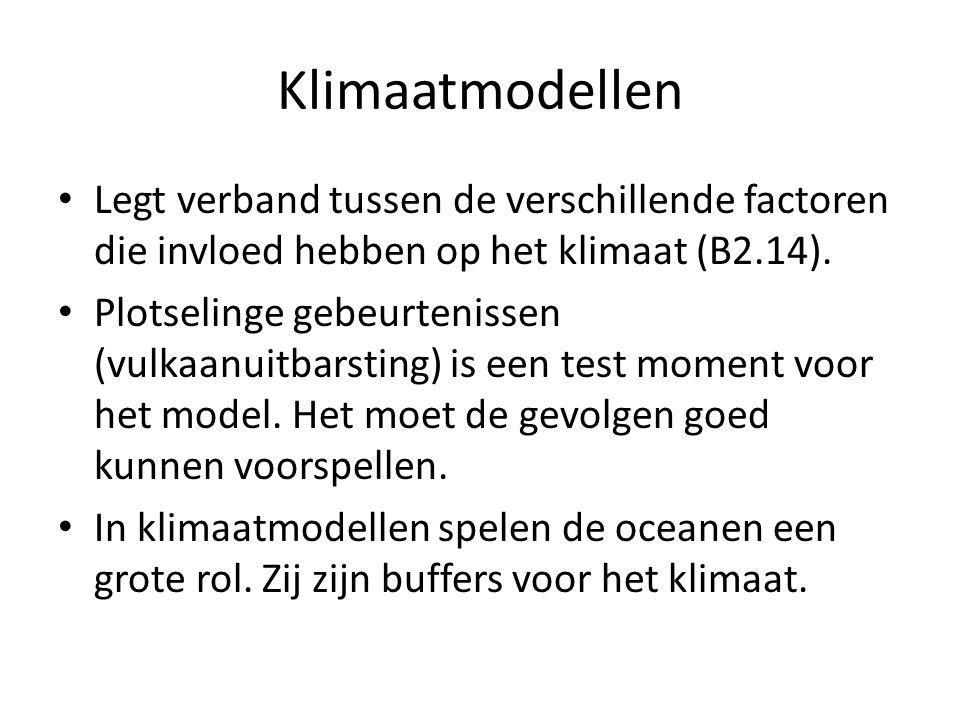 Klimaatmodellen Legt verband tussen de verschillende factoren die invloed hebben op het klimaat (B2.14).