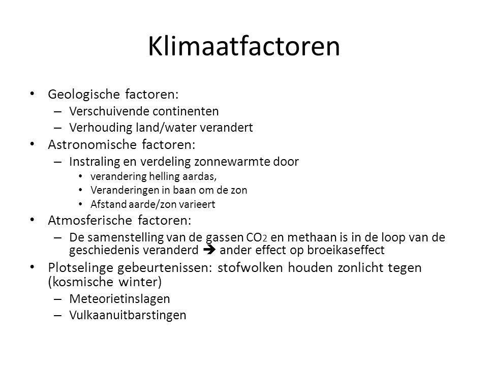 Klimaatfactoren Geologische factoren: Astronomische factoren: