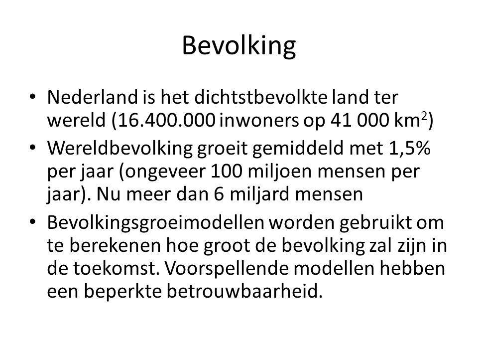 Bevolking Nederland is het dichtstbevolkte land ter wereld (16.400.000 inwoners op 41 000 km2)
