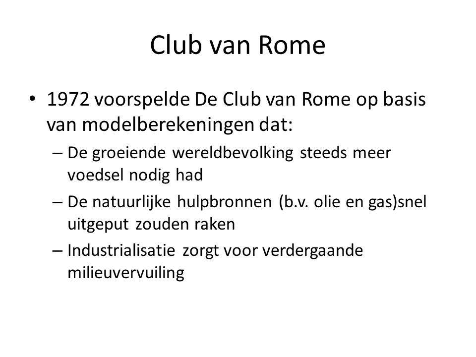 Club van Rome 1972 voorspelde De Club van Rome op basis van modelberekeningen dat: De groeiende wereldbevolking steeds meer voedsel nodig had.