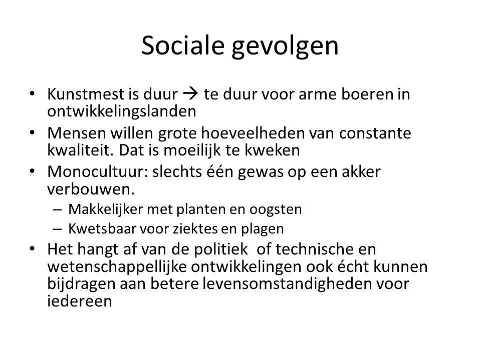 Sociale gevolgen Kunstmest is duur  te duur voor arme boeren in ontwikkelingslanden.