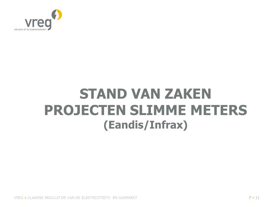 stand van zaken projecten slimme meters (Eandis/Infrax)