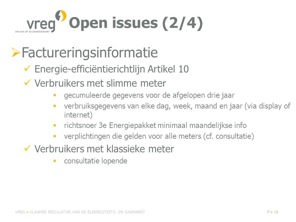 Open issues (2/4) Factureringsinformatie