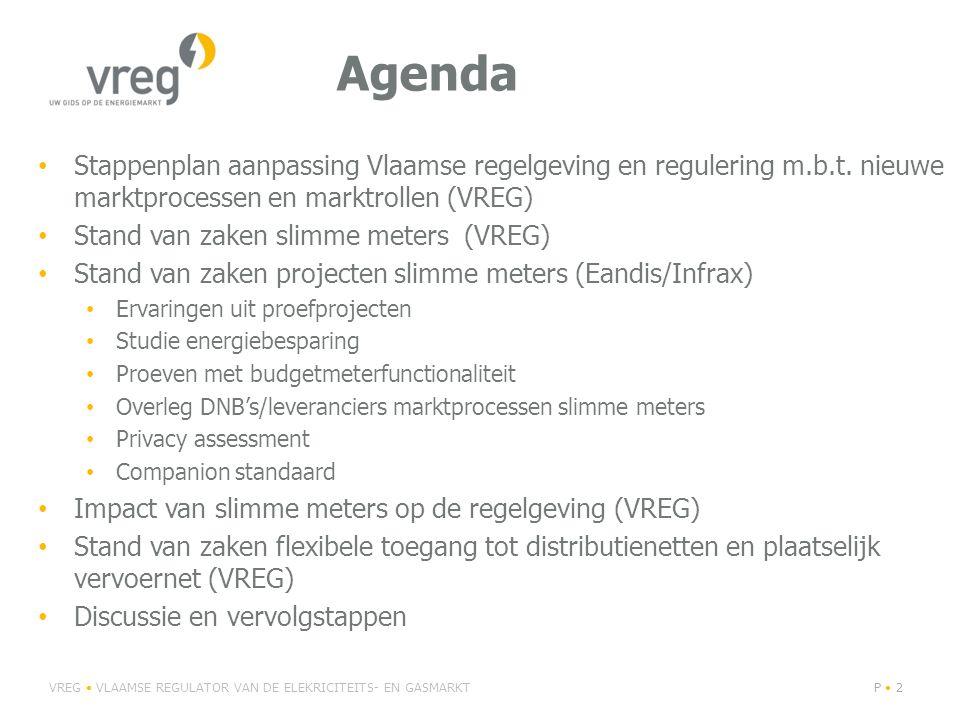 Agenda Stappenplan aanpassing Vlaamse regelgeving en regulering m.b.t. nieuwe marktprocessen en marktrollen (VREG)