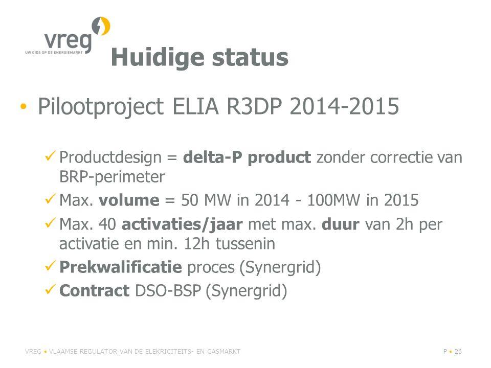 Huidige status Pilootproject ELIA R3DP 2014-2015