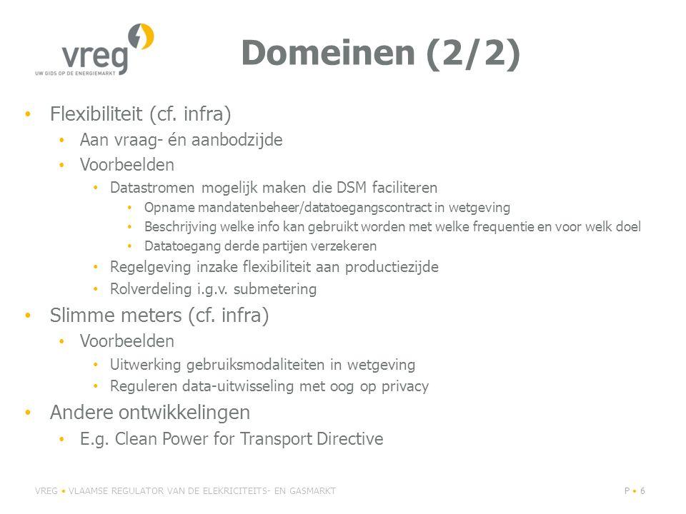 Domeinen (2/2) Flexibiliteit (cf. infra) Slimme meters (cf. infra)