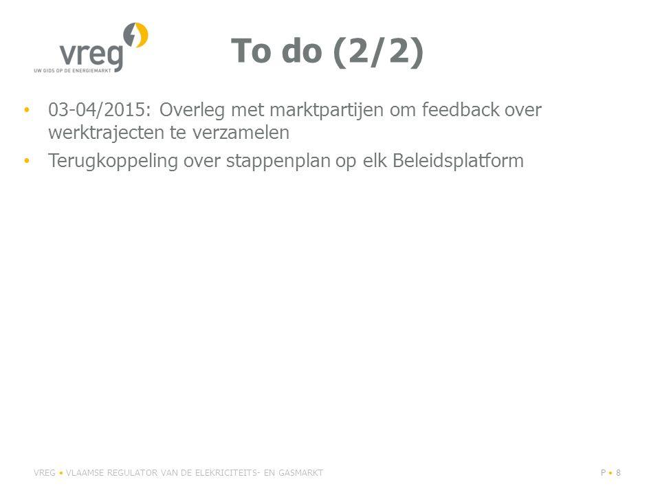 To do (2/2) 03-04/2015: Overleg met marktpartijen om feedback over werktrajecten te verzamelen.
