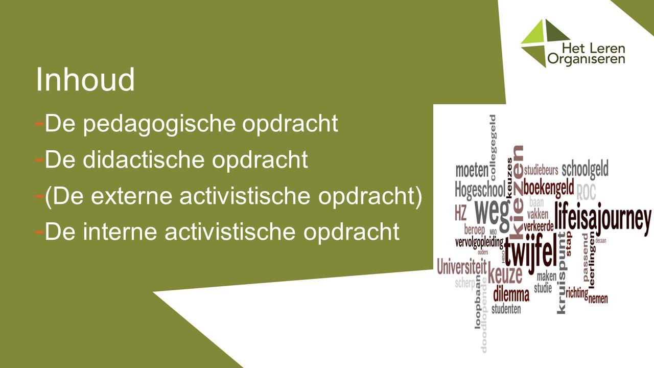 Inhoud De pedagogische opdracht De didactische opdracht