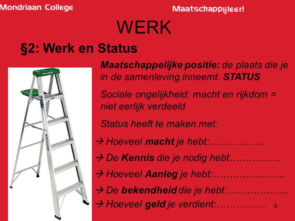 WERK §2: Werk en Status. Maatschappelijke positie: de plaats die je in de samenleving inneemt. STATUS.