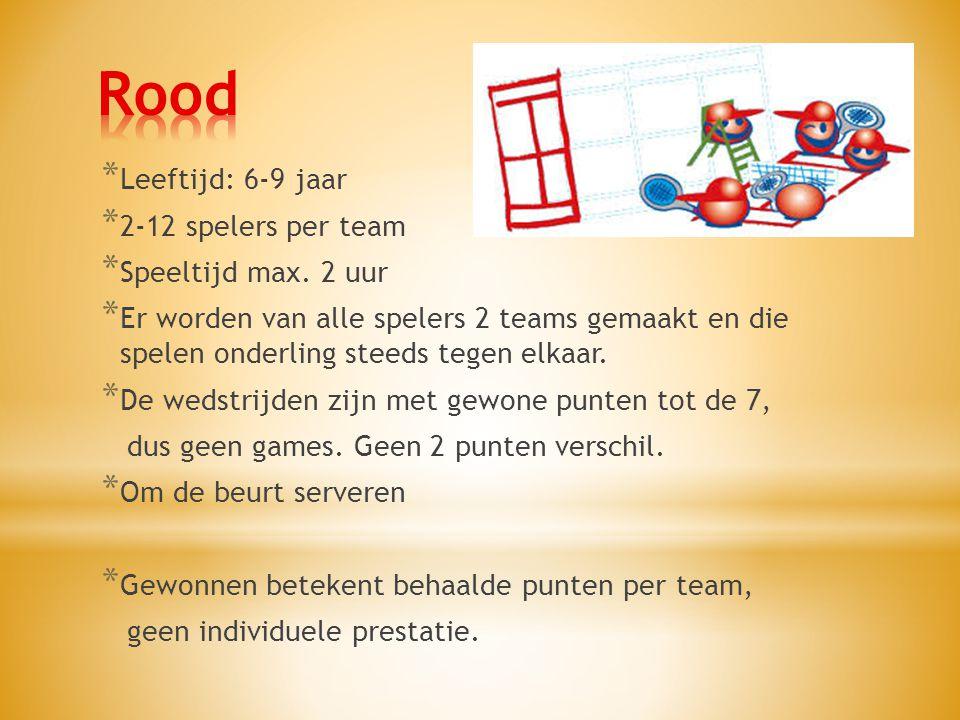 Rood Leeftijd: 6-9 jaar 2-12 spelers per team Speeltijd max. 2 uur
