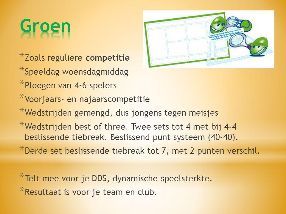 Groen Zoals reguliere competitie Speeldag woensdagmiddag
