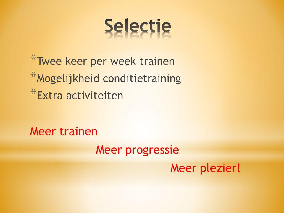 Selectie Meer trainen Meer progressie Meer plezier!