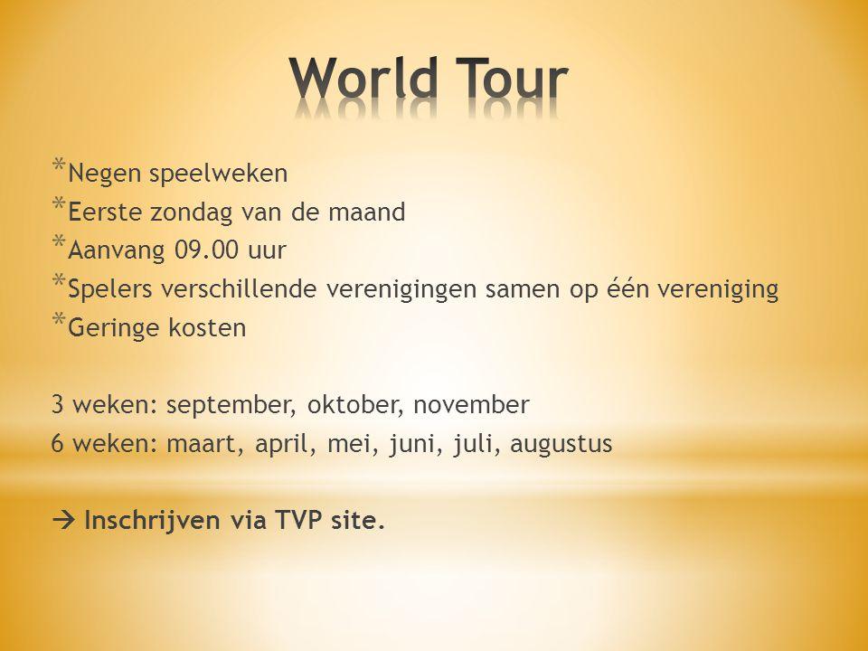 World Tour Negen speelweken Eerste zondag van de maand