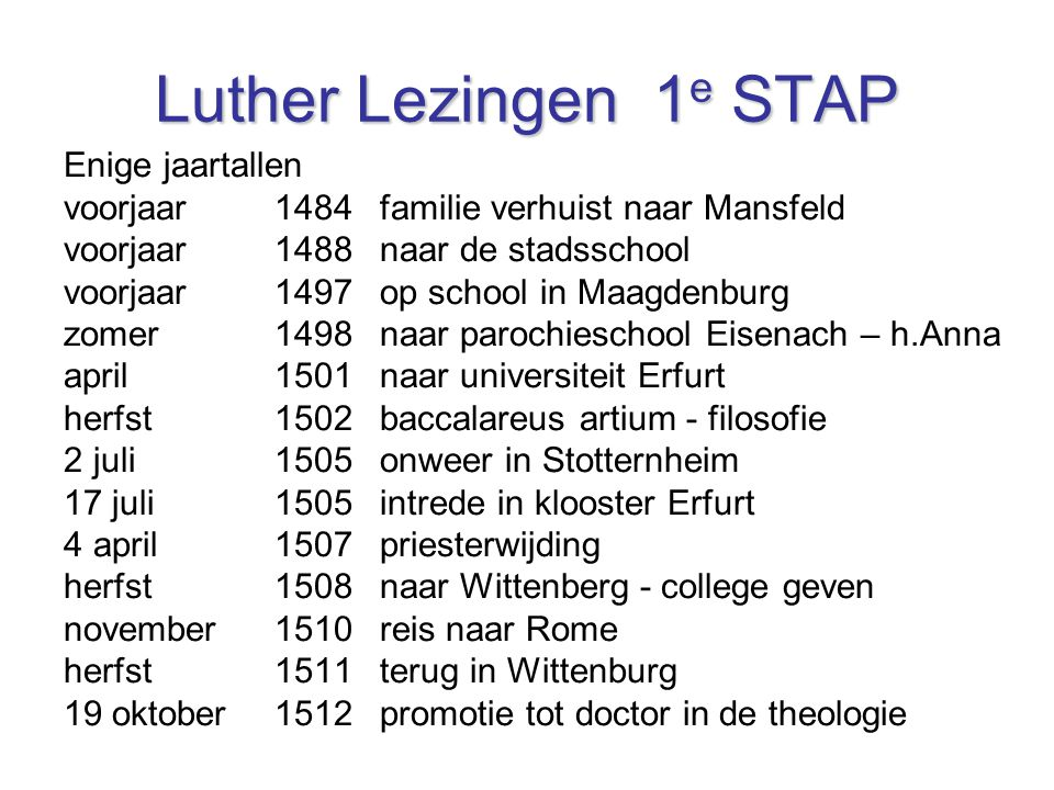 Luther Lezingen 1e STAP Enige jaartallen