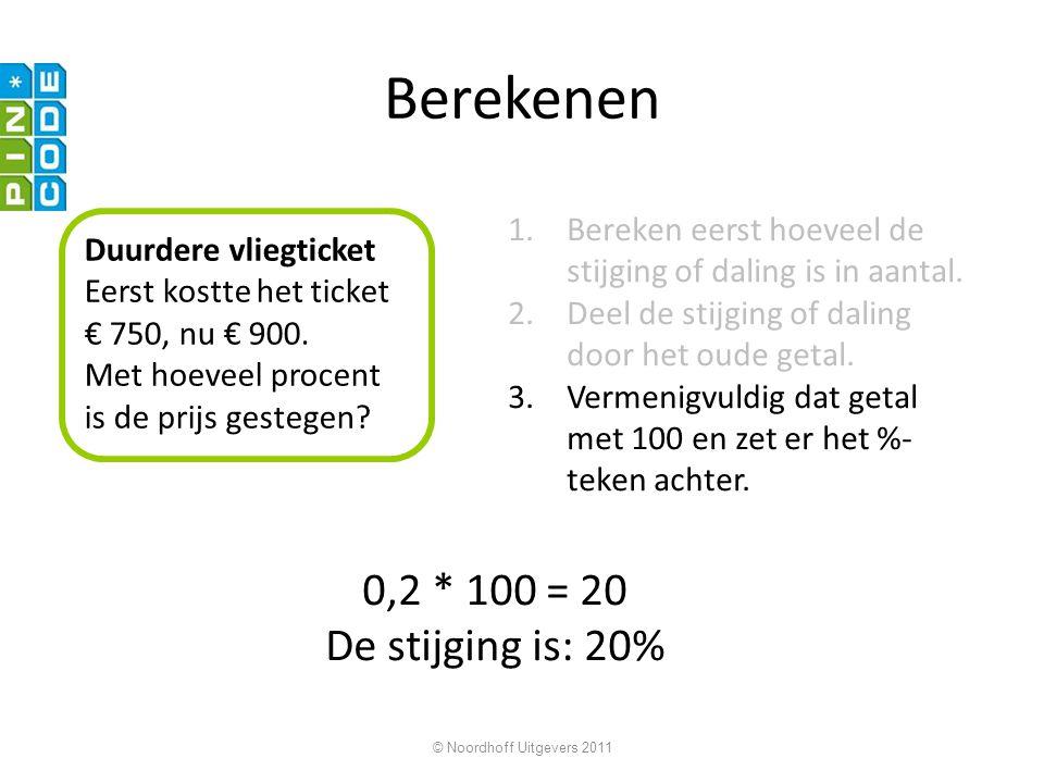 Berekenen 0,2 * 100 = 20 De stijging is: 20%