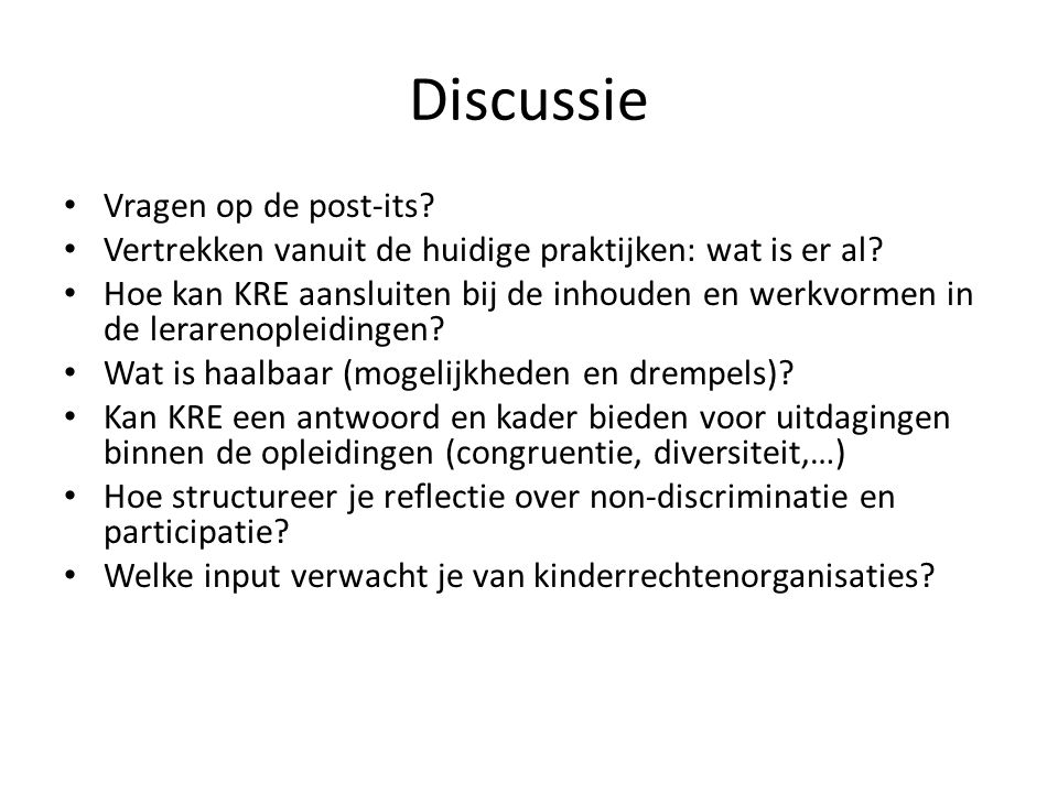 Discussie Vragen op de post-its