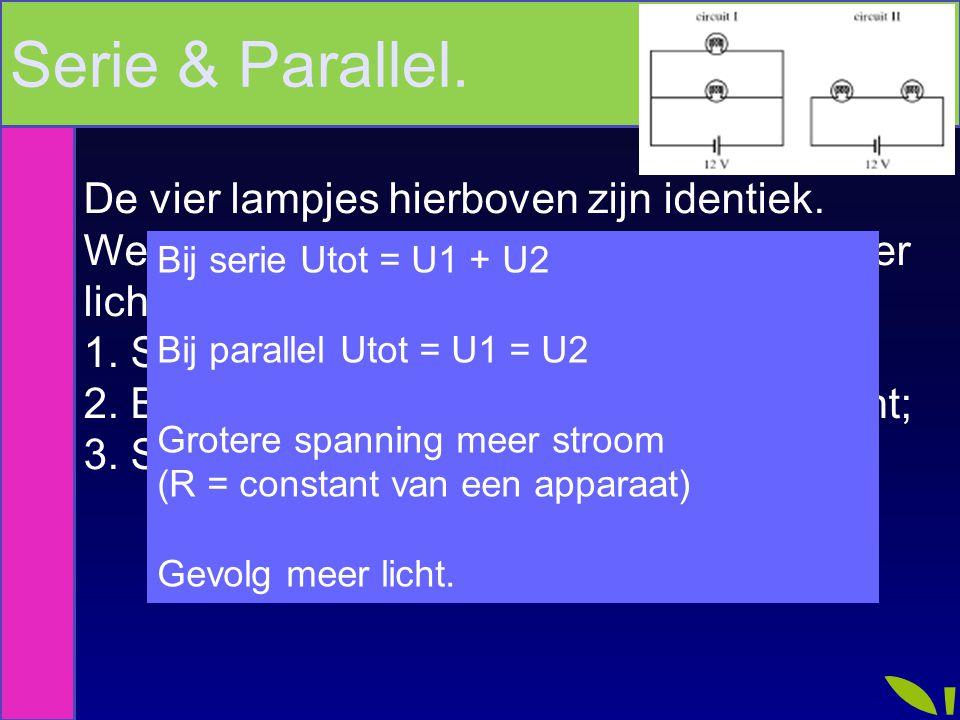 Serie & Parallel. De vier lampjes hierboven zijn identiek. Welke schakeling geeft in zijn totaliteit meer licht