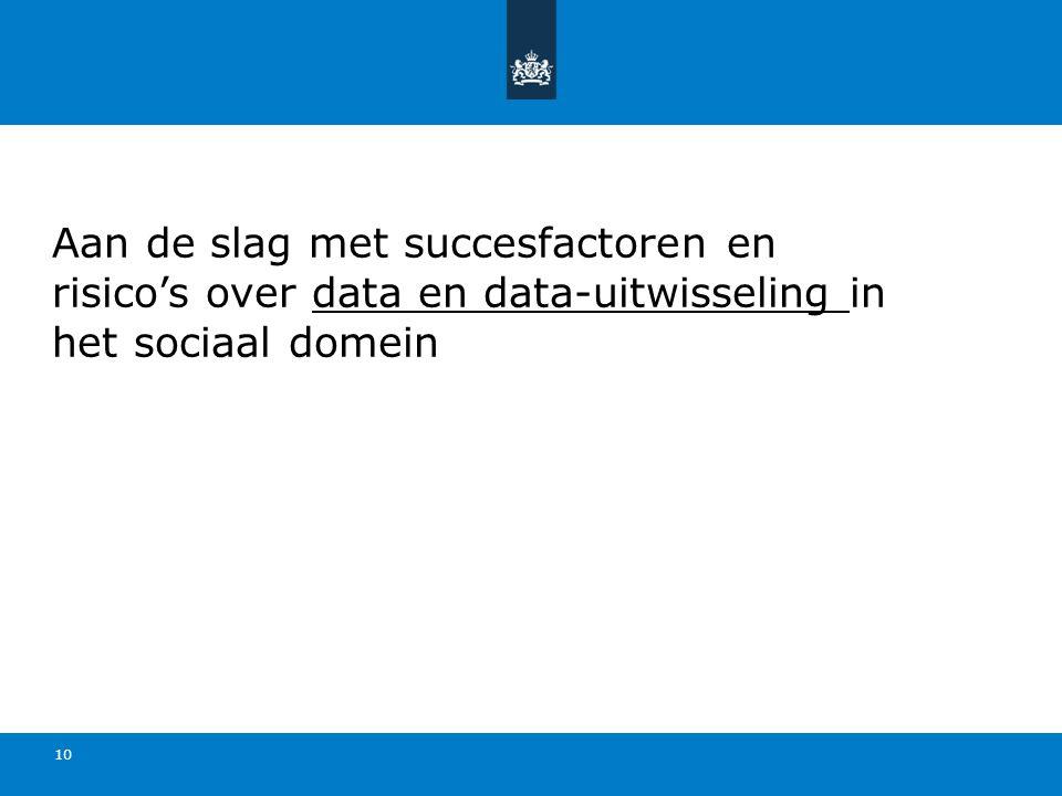 Aan de slag met succesfactoren en risico's over data en data-uitwisseling in het sociaal domein