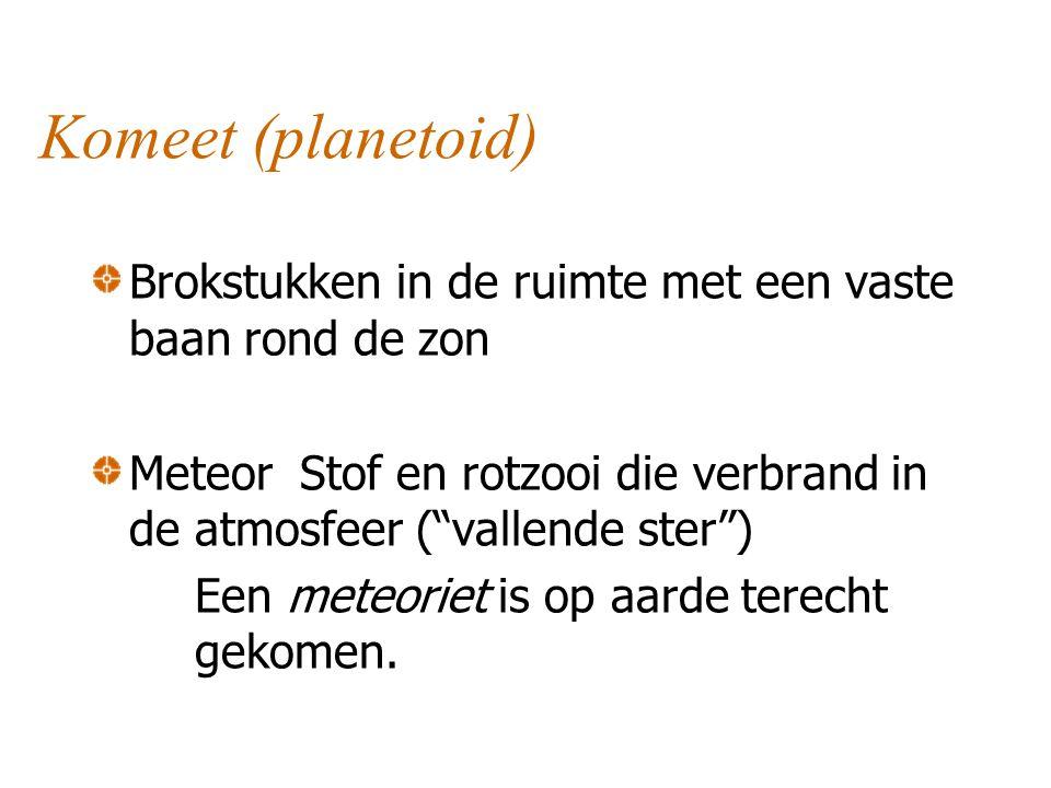 Komeet (planetoid) Brokstukken in de ruimte met een vaste baan rond de zon. Meteor Stof en rotzooi die verbrand in de atmosfeer ( vallende ster )