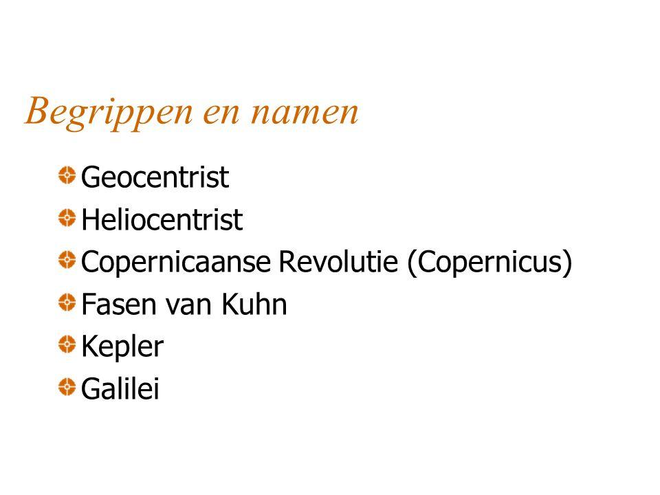 Begrippen en namen Geocentrist Heliocentrist