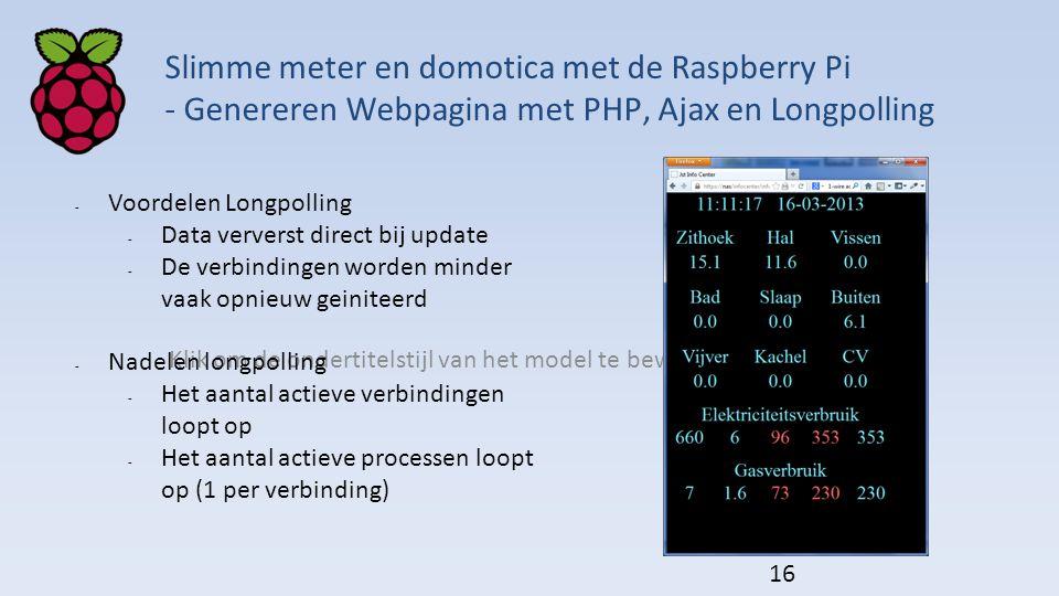 Slimme meter en domotica met de Raspberry Pi - Genereren Webpagina met PHP, Ajax en Longpolling
