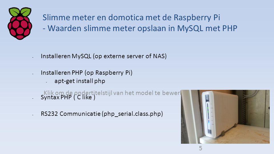 5 Slimme meter en domotica met de Raspberry Pi - Waarden slimme meter opslaan in MySQL met PHP. Installeren MySQL (op externe server of NAS)