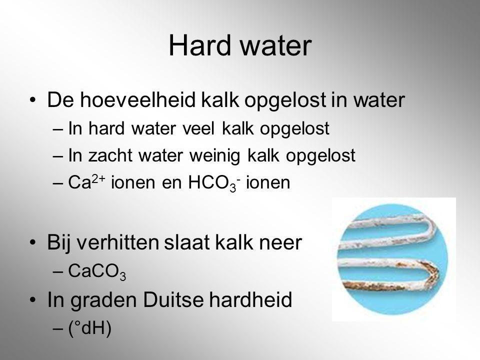 Hard water De hoeveelheid kalk opgelost in water