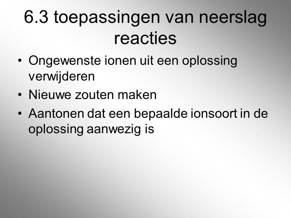 6.3 toepassingen van neerslag reacties
