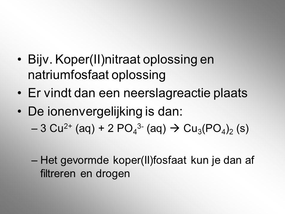 Bijv. Koper(II)nitraat oplossing en natriumfosfaat oplossing