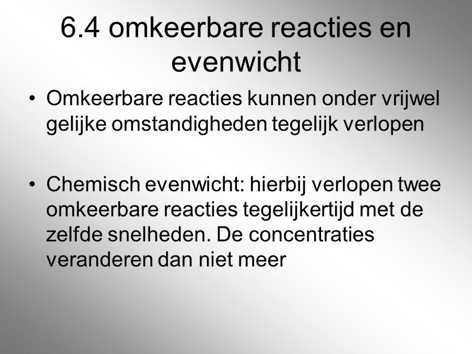 6.4 omkeerbare reacties en evenwicht