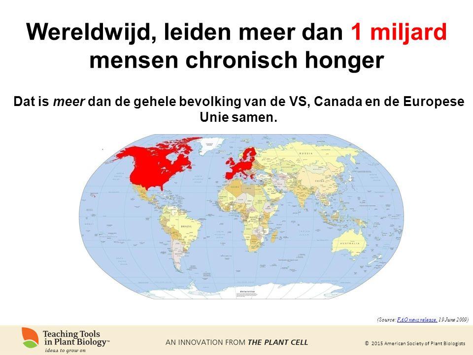 Wereldwijd, leiden meer dan 1 miljard mensen chronisch honger