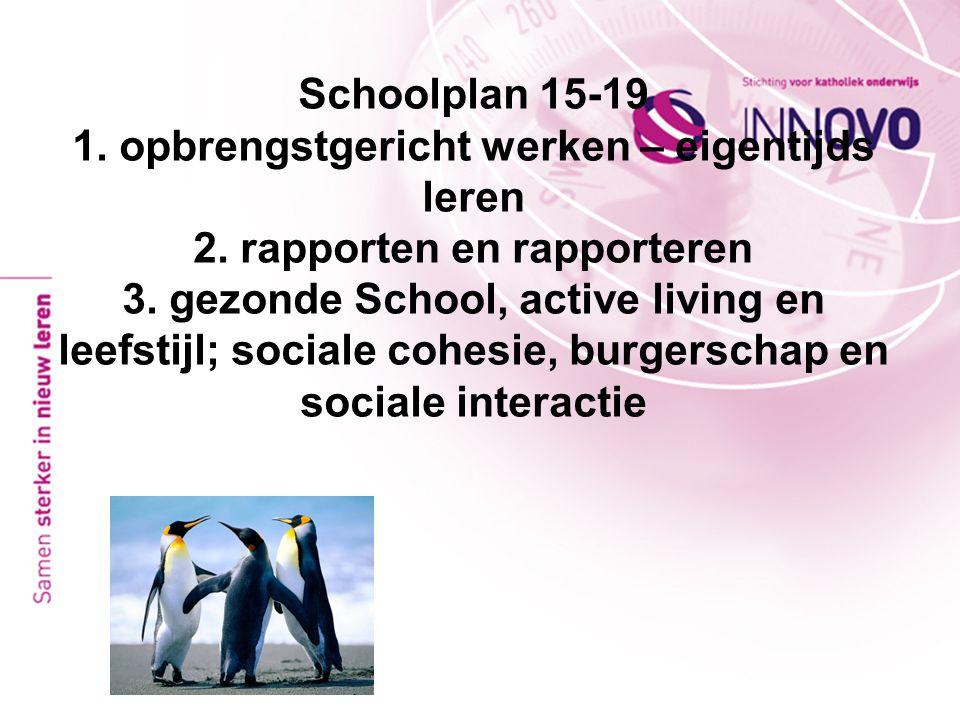 Schoolplan 15-19 1. opbrengstgericht werken – eigentijds leren 2