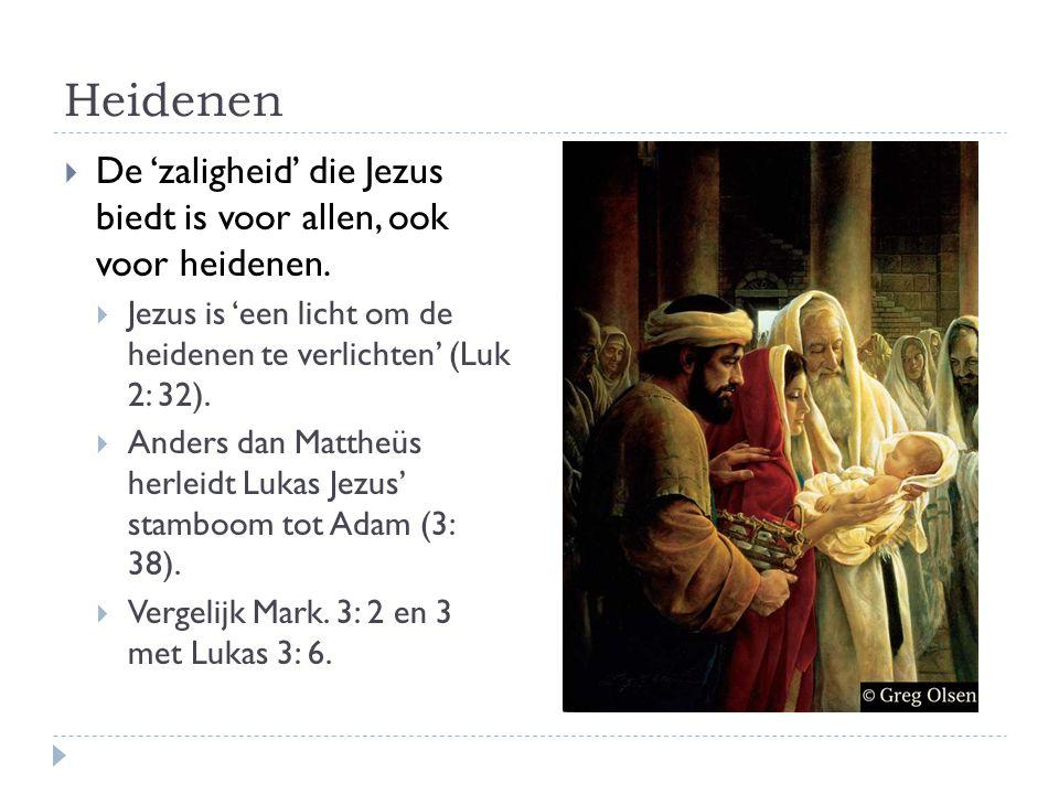 Heidenen De 'zaligheid' die Jezus biedt is voor allen, ook voor heidenen. Jezus is 'een licht om de heidenen te verlichten' (Luk 2: 32).