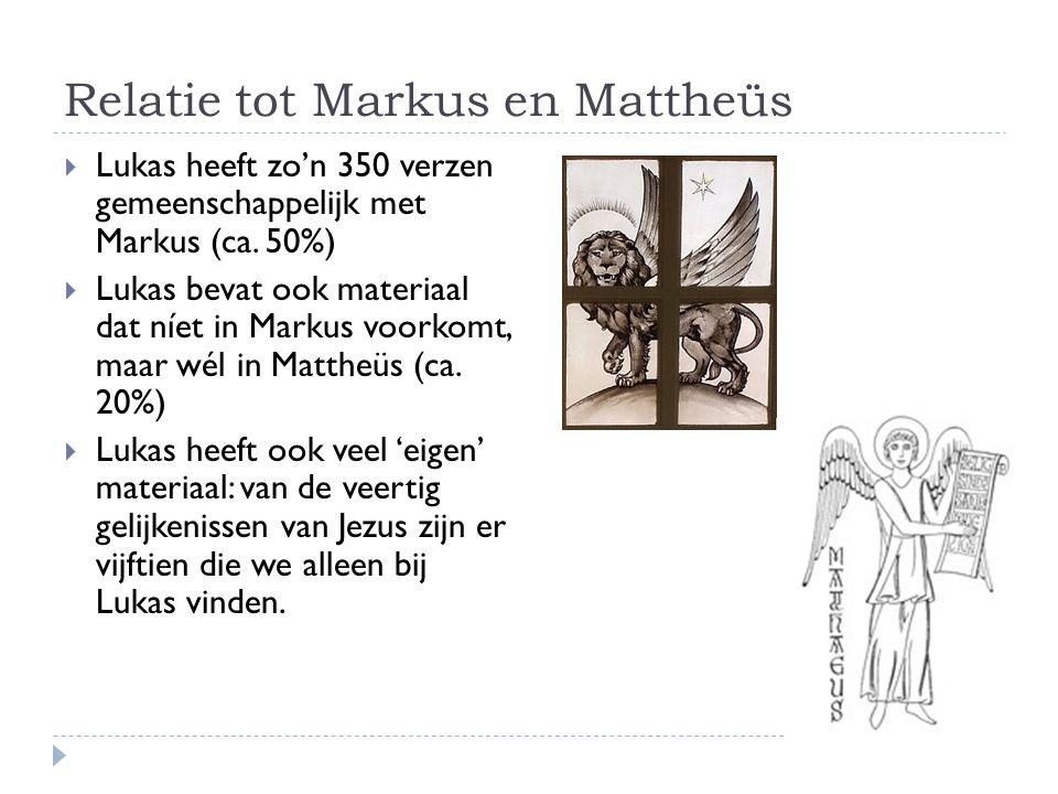 Relatie tot Markus en Mattheüs