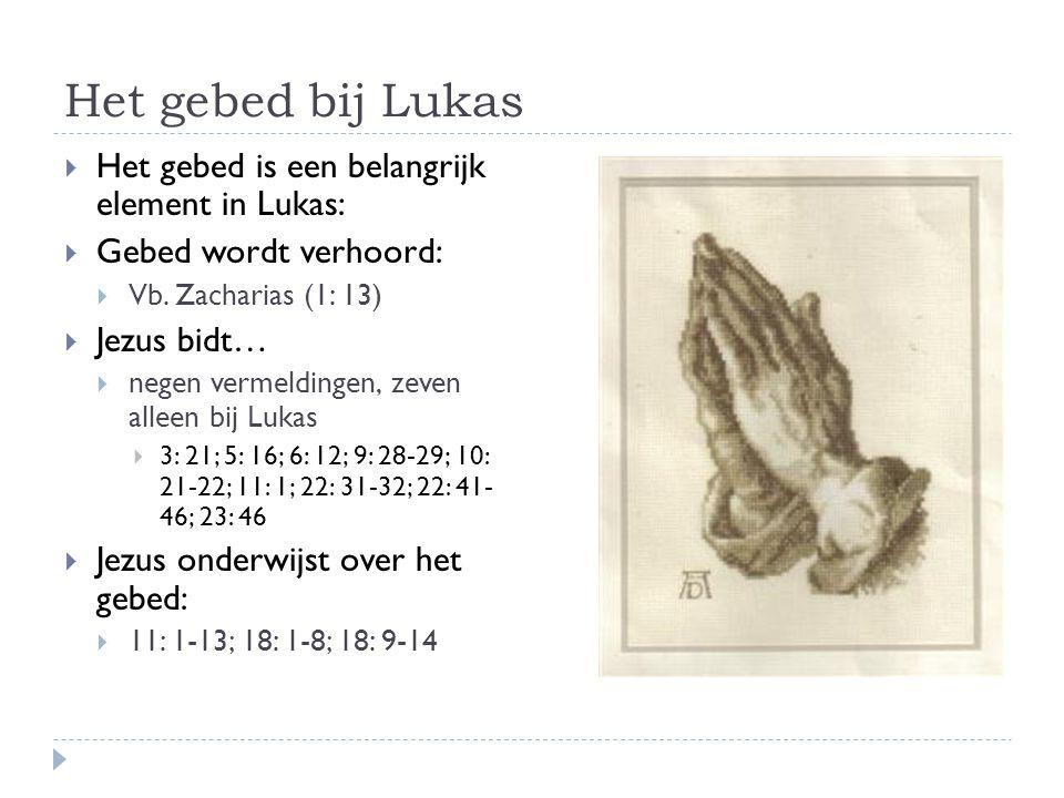 Het gebed bij Lukas Het gebed is een belangrijk element in Lukas: