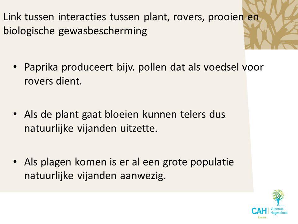 Link tussen interacties tussen plant, rovers, prooien en biologische gewasbescherming