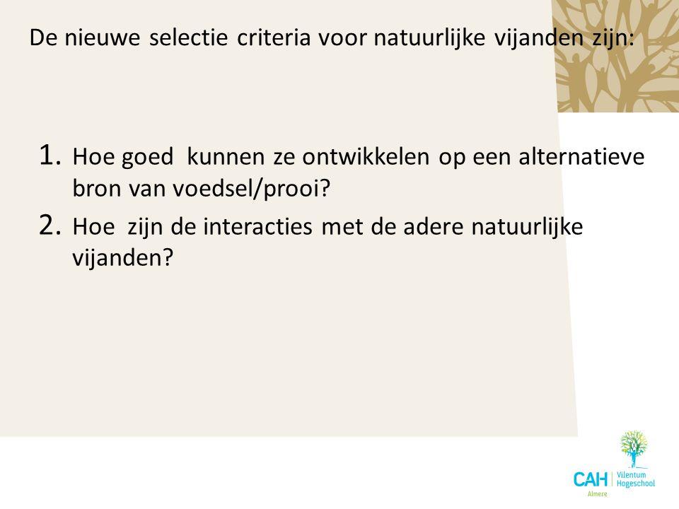 De nieuwe selectie criteria voor natuurlijke vijanden zijn: