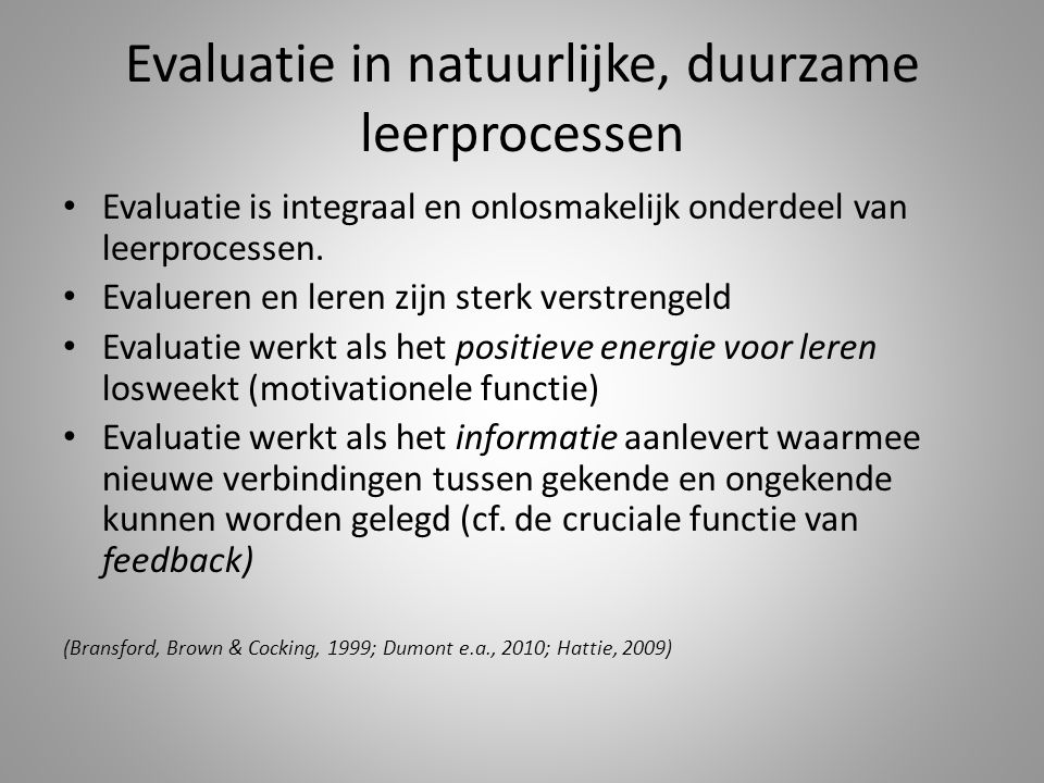 Evaluatie in natuurlijke, duurzame leerprocessen