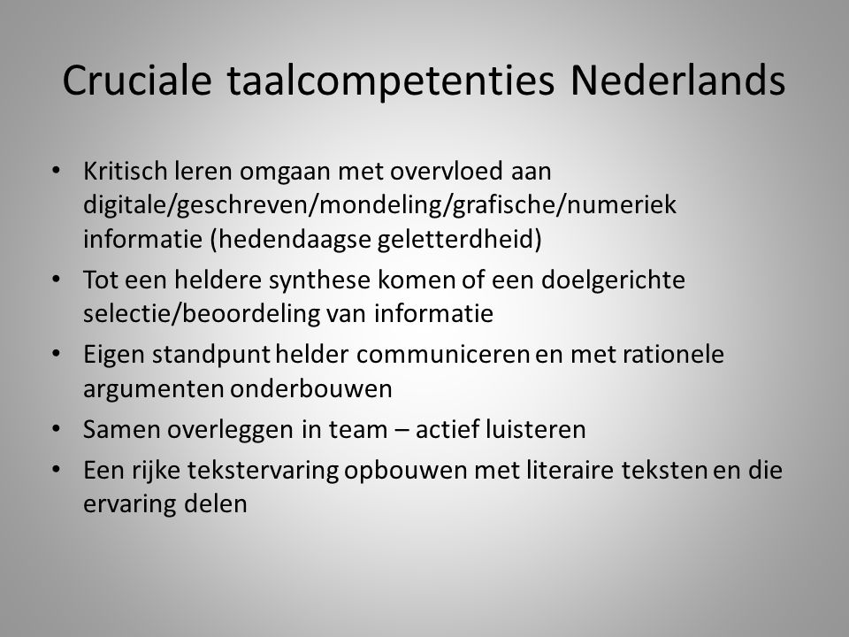 Cruciale taalcompetenties Nederlands