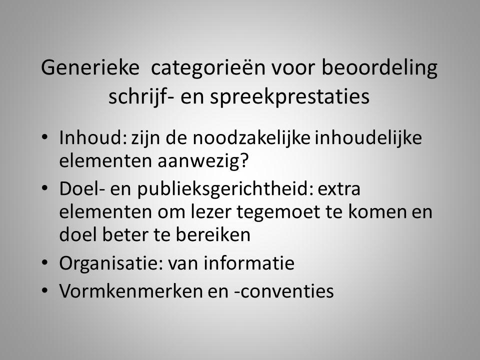 Generieke categorieën voor beoordeling schrijf- en spreekprestaties