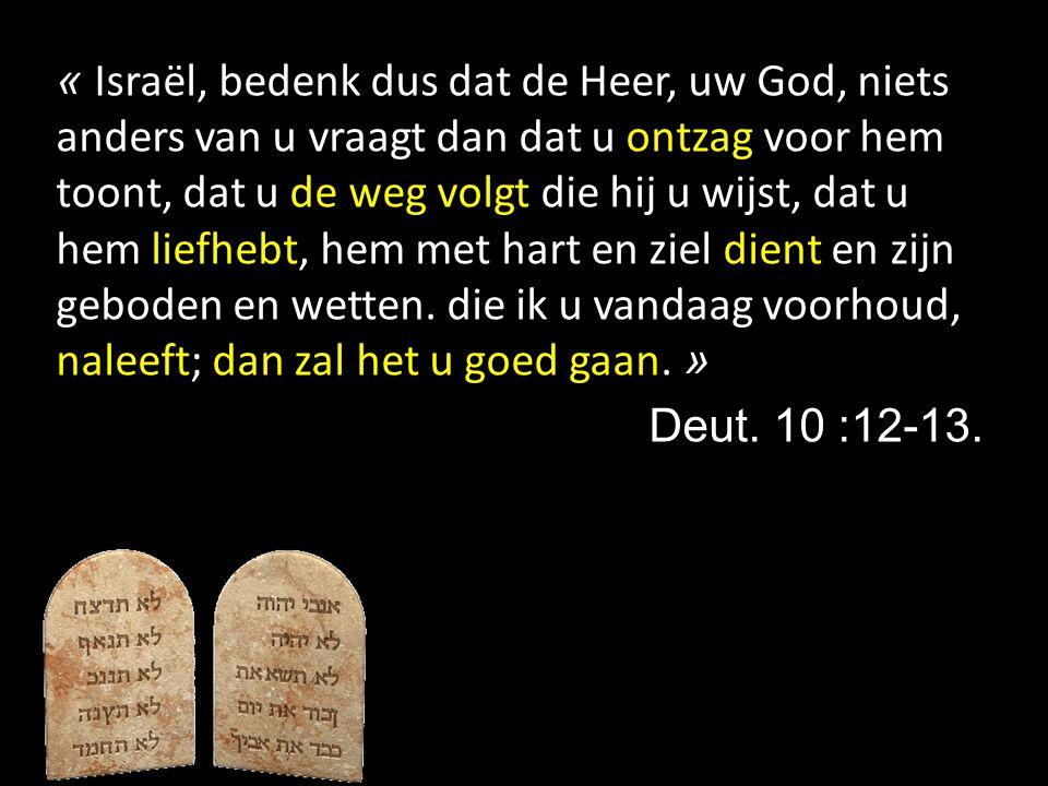 « Israël, bedenk dus dat de Heer, uw God, niets anders van u vraagt dan dat u ontzag voor hem toont, dat u de weg volgt die hij u wijst, dat u hem liefhebt, hem met hart en ziel dient en zijn geboden en wetten. die ik u vandaag voorhoud, naleeft; dan zal het u goed gaan. »