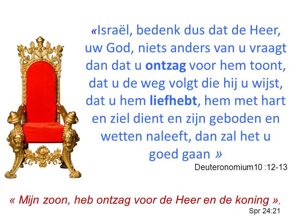 «Israël, bedenk dus dat de Heer, uw God, niets anders van u vraagt dan dat u ontzag voor hem toont, dat u de weg volgt die hij u wijst, dat u hem liefhebt, hem met hart en ziel dient en zijn geboden en wetten naleeft, dan zal het u