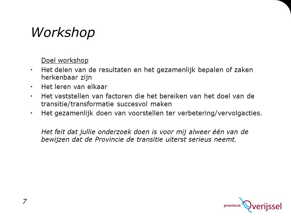 Workshop Doel workshop