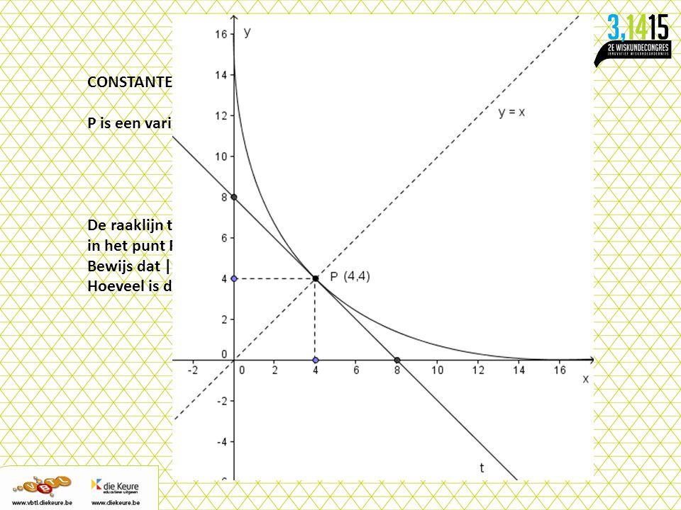 CONSTANTE 3 P is een variabel punt op de grafiek van de kromme K bepaald door.