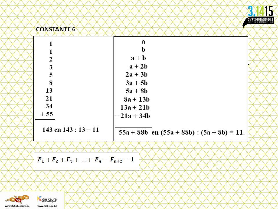 CONSTANTE 6 Schrijf onder elkaar twee willekeurige strikt positieve gehele getallen op.